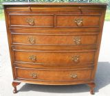 Queen Anne Style Bowfront Walnut Chest of Drawers